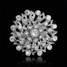 Strass di Cristallo D'argento Del Fiore Spille per le Donne Degli Uomini di Cerimonia Nuziale Nuziale Del Partito Rotondo Bouquet Spilla Spille Chiaro(China)