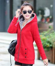 Plus Size 1PC Winter Women Casual Hoodie Thick Velvet Fleece Warm Sweatshirts Outwear Long Sleeve Coat Jackets Zipper Hoody(China (Mainland))