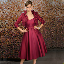 Entrancing A-line Sweetheart Gown Satin Tea Length Simple Mother of the Bride Dresses with Jacket(China (Mainland))
