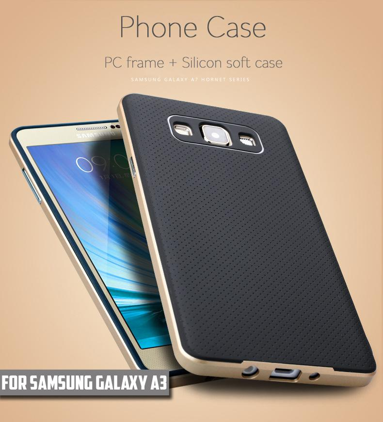 For Samsung Galaxy A3 Case New High Quality Silicon Case PC Frame + TPU Material Back Cover Case for Galaxy A3 A3000 2015(China (Mainland))