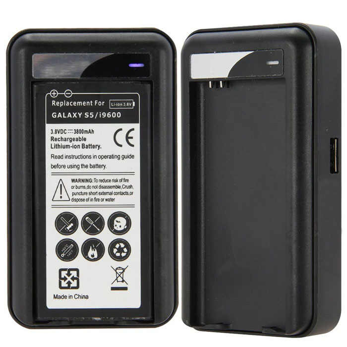 Wall Travel Spare Battery Charger With USB for Samsung Galaxy S5 i9600(China (Mainland))