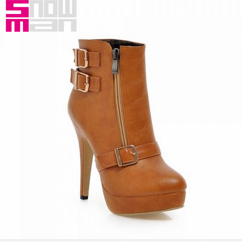 2015 Brand Thin High Heels Short Boots Platform Shoes Spring Autumn Boots Women Shoes Woman Fashion Buckle Front Zip Ankle Boots