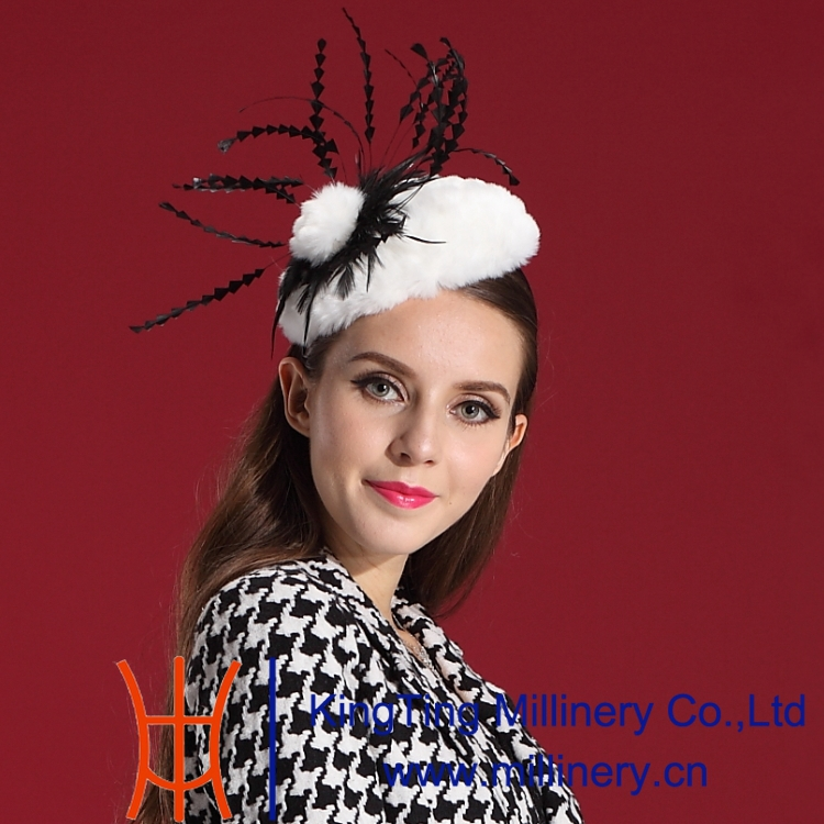 Free Shipping Women Fascinator Hair Fur Feather Fashion Ladies' Hair Accessories Elegant Woman Special Noble Hat Modern Style(China (Mainland))