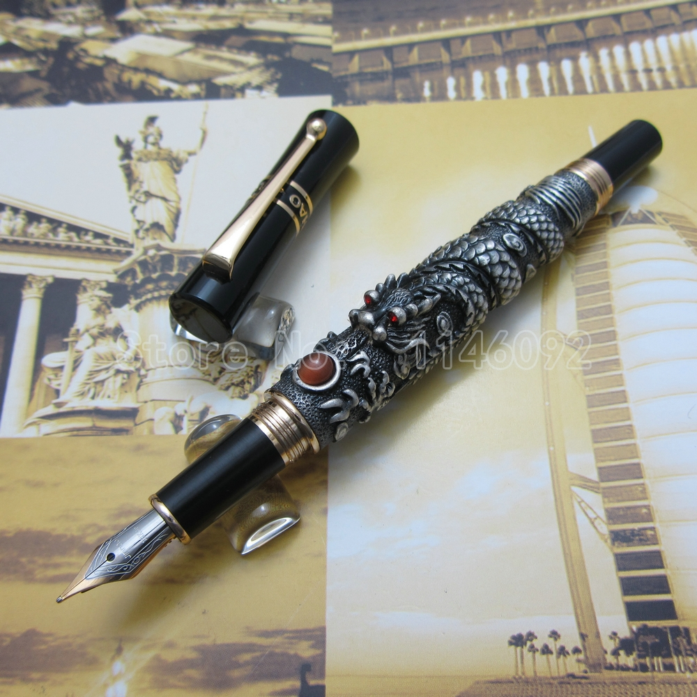 Jinhao Chinese Dragon thomsonae Fountain Pen with Gift Box Gold White Antique Silver Optional J89TE5<br><br>Aliexpress