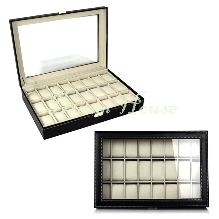 Top Class Luxury Watch Box Watch Display Case Jewelry Earrings Rings Necklace Organizer Box Brand NEW 12(China (Mainland))