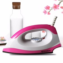 SOARIN Pink 1000W Electric Dry Iron Household Irons 220 V Portable Wire Teflon Non-stick Baseplate With Adjusted Temperature(China (Mainland))
