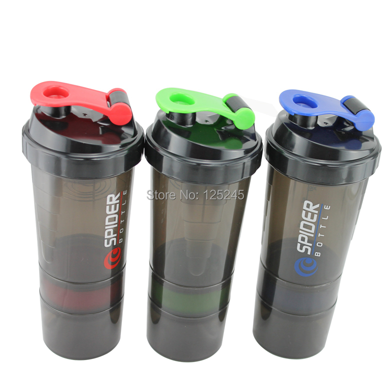 Bsn spider protein shaker 3 in 1 Sports water bottle with inserted mixing ball 3 Color options 600ml(China (Mainland))