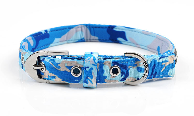 High Quality Adjustable Nylon Camouflage Blue Diving Cloth Collar Lead For Big Small Dog Cat Pet Harness Necklace Dogs Supplies(China (Mainland))