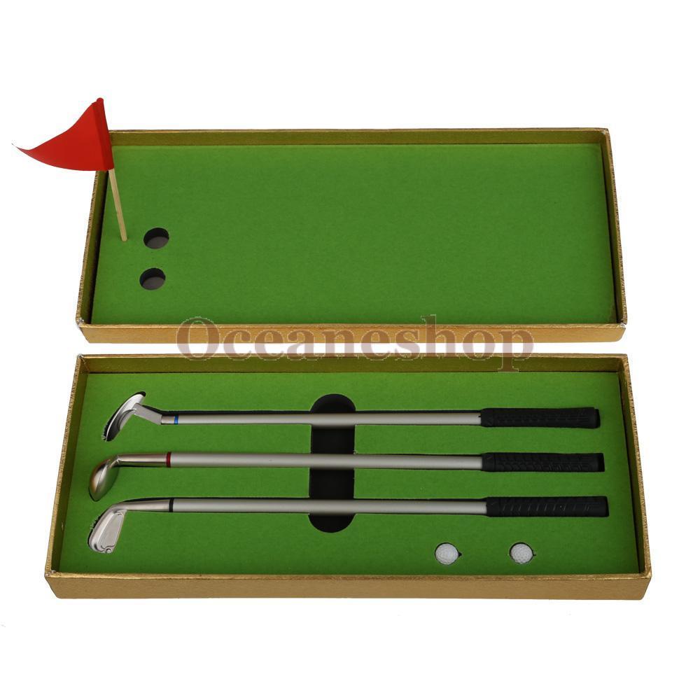 OCEA 3PCS Mini Golf Clubs Models Ball Pen Golf Balls Flag Set Gift Three Colors(China (Mainland))