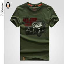 Famous Brand Men T Shirts Fashion 2016 Tops Tees Summer Short Sleeve T-shirt Anti-wrinkle Cotton Comfortable Loose AFS JEEP Car(China (Mainland))