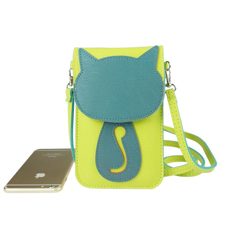 Mobile Messenger bag cute cat purse small bag ladies mini shoulder bags large touch screen mobile phone handbag(China (Mainland))