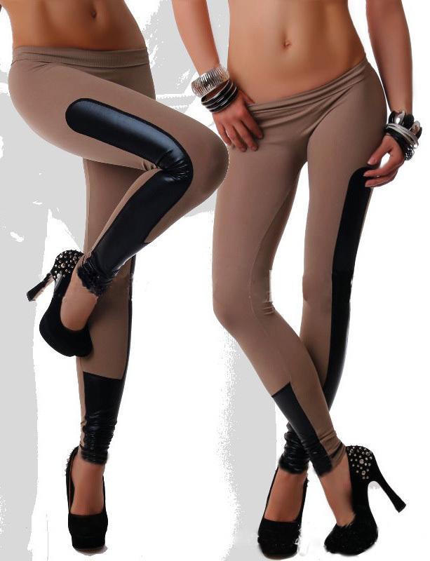 2014 Newest Women's Milk Silk Patchwork Black Faux Leather Stretch Leggings Pants - Star Rain Shops store