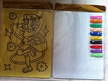 Color Sand art kit for children 20x28cm yellow sticker card with 10 bags of color sand(about 2g each color)(China (Mainland))