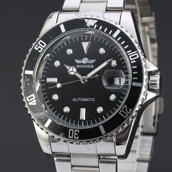 Гаджет  2015  winner fashion casual  luxury male leather business skeleton mechanical men self wind military wrist watch gift clock w122 None Часы