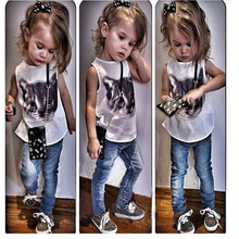 Children's girls baby clothes  modeling clothes 100% cotton casual sleeveless T-shirt+Pants suit Tracksuit(China (Mainland))