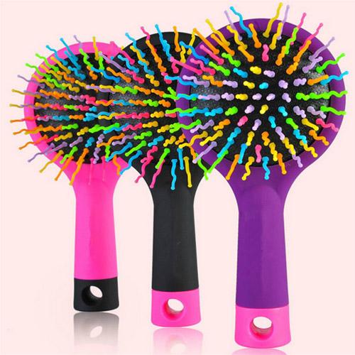 Black Comb Magic Hair Brush fashion women Hair Salon Comb Rainbow Hairbrush Fashion Comb Anti-tangle Brush Massage(China (Mainland))