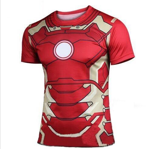 2015 new Fashion Marvel Armor Iron Man 3 MK42 Superhero t shirt men costume jersey 3d Sport tshirt camisetas masculinas(China (Mainland))