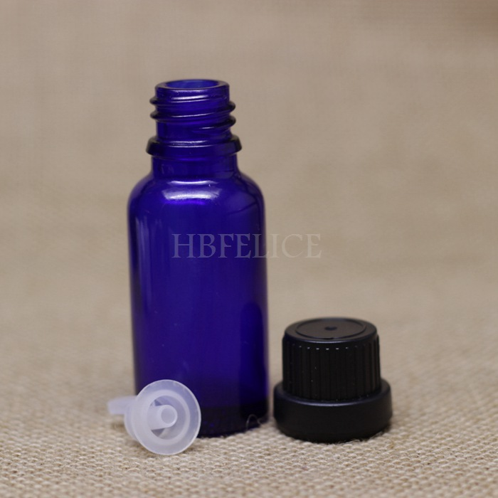 Factory wholesale 468pcs/LOT 20ml Blue glass dropper bottles with Black Tamper Evident Cap Plastic plug(China (Mainland))