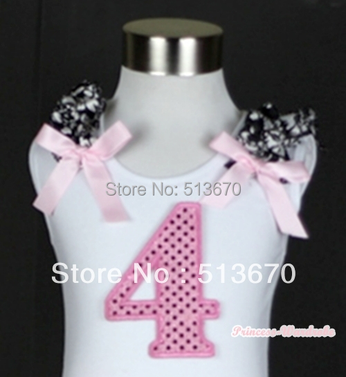 White Pettitop 4th Sparkle Birthday Print With Damask Ruffles Light Pink Bow MATB248(Hong Kong)