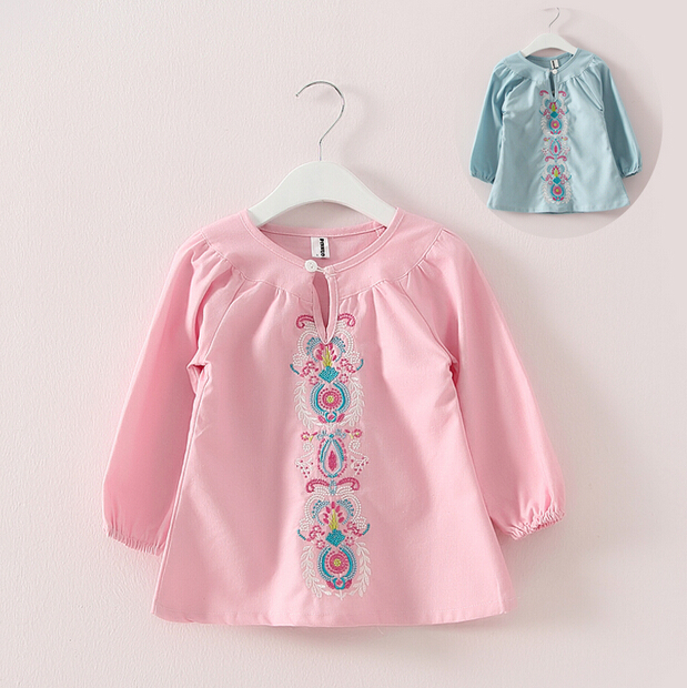 2015 New 2-7 Years Girls Cotton Embroidery Shirts Spring & Autumn Children Long Sleeve Blouse Brand Kids Brief Tops  -  Fashion kids select store