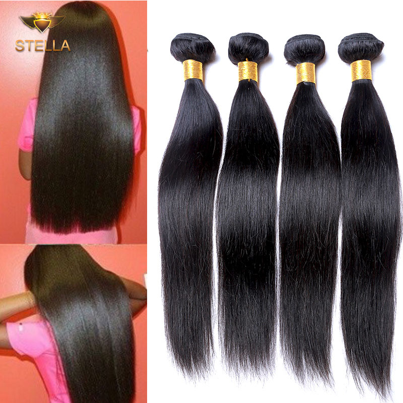 Rosa Hair Products Brazilian Virgin Hair Straight 3 Bundles Unprocessed Virgin Hair Brazilian Straight Hair Natural Black Color