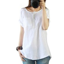 Fashion Women Summer Loose Casual Linen Short Sleeve Green/White Shirt Blouse Tops Clothing