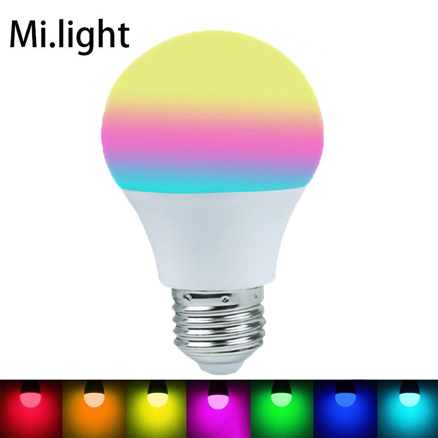 Mi Light 2.4G AC86-265V E27 6W LED RGBW/ RGBWW Bulbs Dimmable Lamps 16 Million Color Temperature Smart Mi Light LED Bulb<br><br>Aliexpress