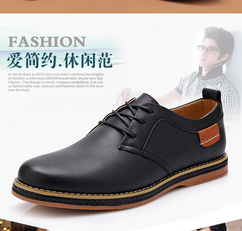 Male casual leather shoes male fashion commercial genuine leather casual shoes men spring and autumn trend(China (Mainland))