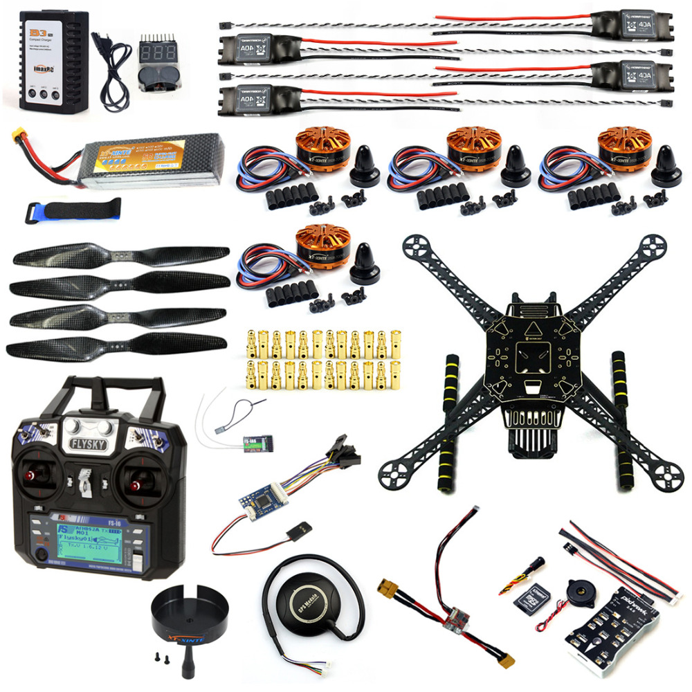 Full Set DIY FPV Drone Kit S600 4 axis Aerial Quadcopter Pix2.4.8 Flight Control GPS 7M 40A ESC 700kv Motor FS-I6 TX RX Battery