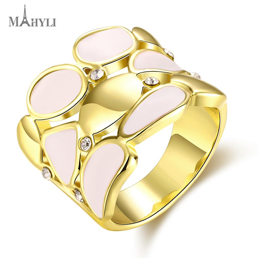 MAHYLI Vintage Wedding Rings For Women 18K Gold Plated Stainless Steel 3 Row Crystal opal Cubic Zirconia USA Size(China (Mainland))