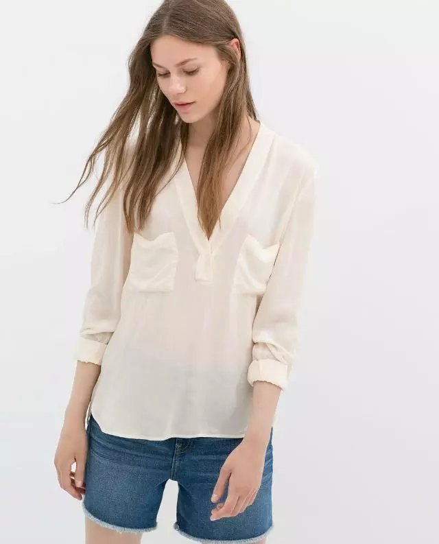 Women Summer Tops Casual Blouses and Shirts Long Sleeve Pockets Off White Wine Color Blusas Femininas 2015 New Sales(China (Mainland))