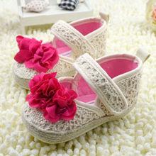 2016 Girls Floral Soft Soled Shoe Infant Toddler Walking Sneaker Girls Kids Crib Lace Up Shoes(China (Mainland))