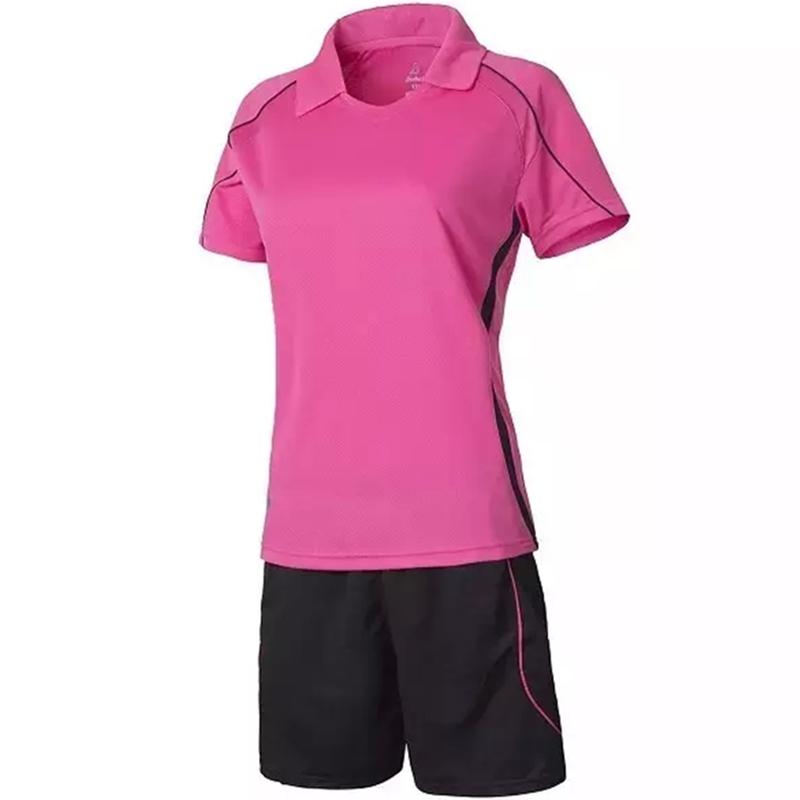 2015/16 new women's custom soccer jersey suit team uniform blank red football training set female short lapel sport design sets(China (Mainland))