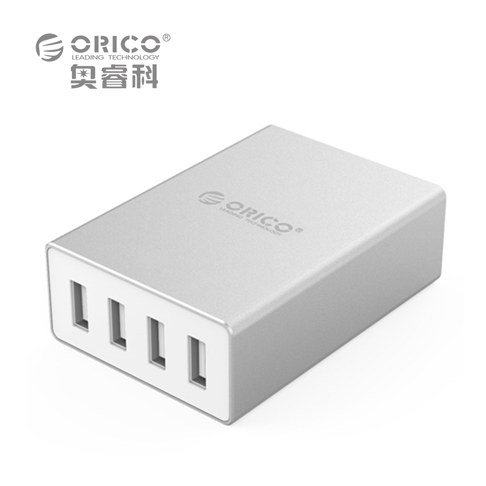 ORICO ASK-4U Aluminum 4 Ports EU US Plug Smart Phone Charger 5V6.0A30W Output - Silver(China (Mainland))