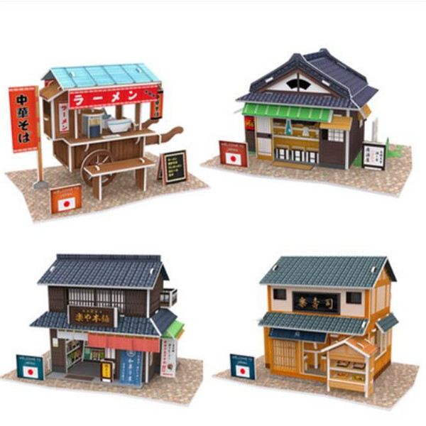 Cubic Fun diy 3D Paper Puzzle Architecture for kids Japan Style buildings Model gift Children learning educational toys(China (Mainland))
