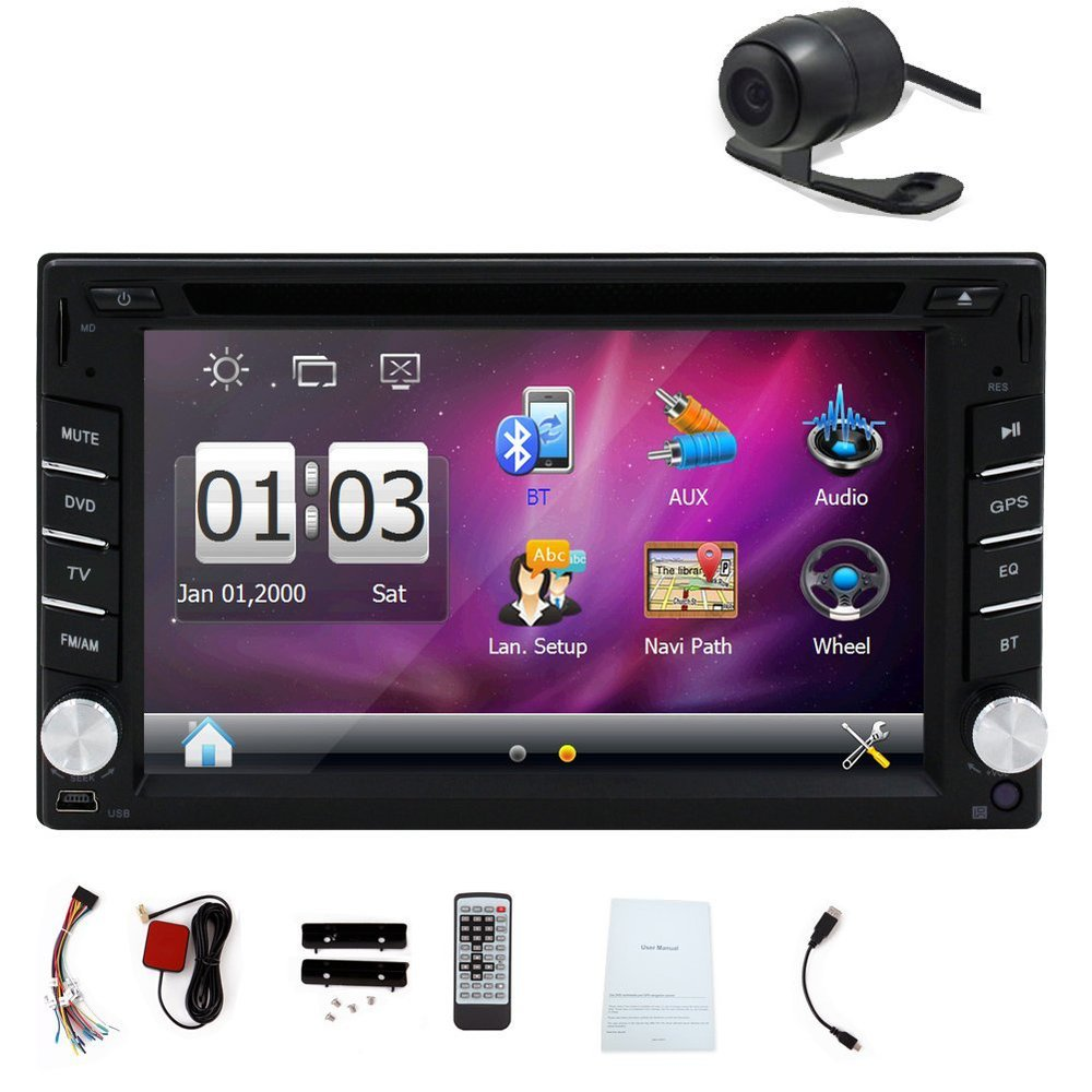 Wince 6.0 PUPUG Car DVD GPS Player 6.2 inch 2 Din In Dash Touch Screen Car Stereo with free 8GB Map Card Back Camera(China (Mainland))