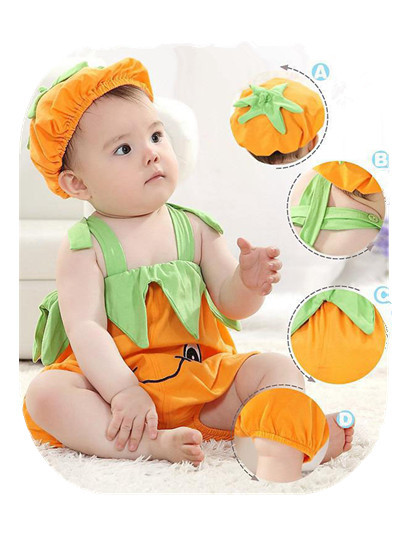 Hot sale baby rompers summer kids overalls cotton infant /toddler 2pcs hat+jumpsuit clothing sets baby girls boys jumpsuit 27(China (Mainland))