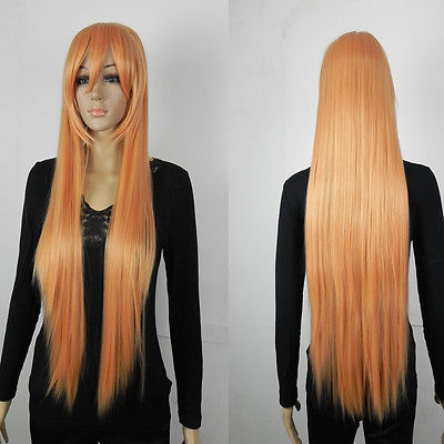 Long Straight Bright Orange Fibre Hair Cosplay Costume Synthetic Anime Wig(China (Mainland))