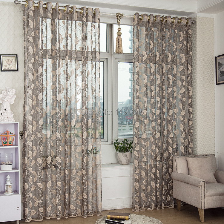 2015 New Arrival Window Screening Tulle Leaf Nature Modern