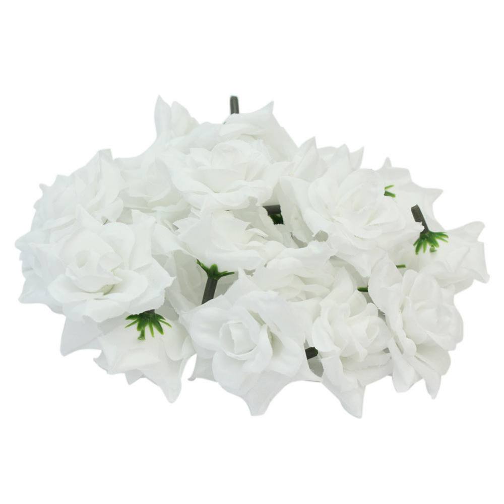 24pcs/Lot White 5cm Silk Fabric Fake Artificial Rose Flower Heads Buds DIY Handmade Wedding Party Home Decoration Craft(China (Mainland))