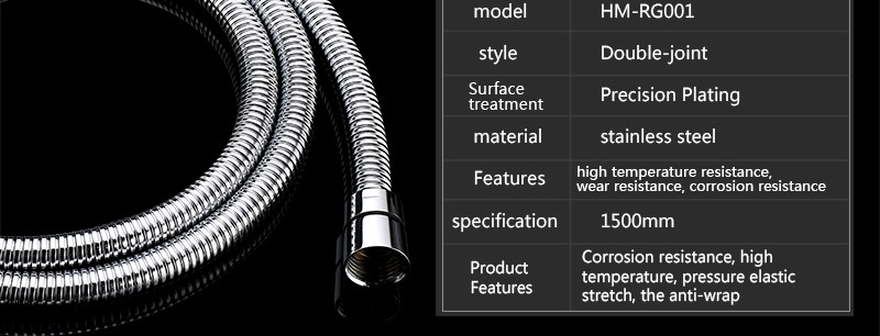 hm Plumbing Hoses Shower Hose 1.5m Plumbing Hose Bath Products Bathroom Accessories SUS304 Shower Tubing Hoses