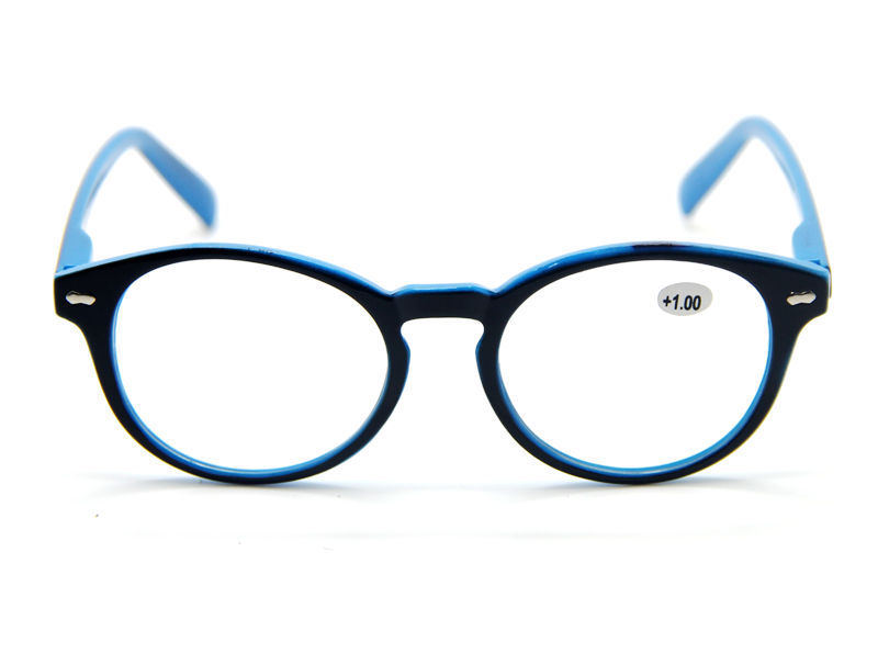 Mens Large Round Retro Black Blue Frame Reading Glasses ...