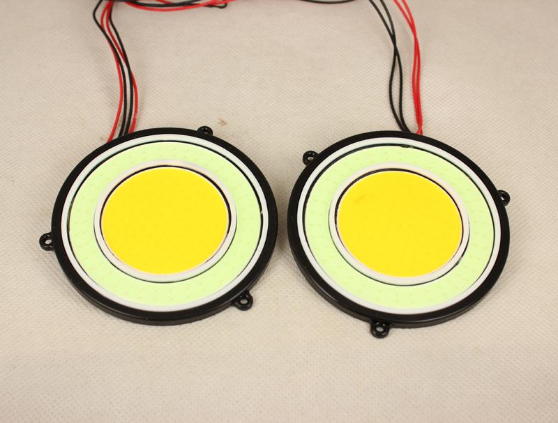 DRL Daytime Running Lamp With Angel eyes COB Waterproof  Universality Foglight Car Running Light - 2PCS ( Amber&Cystal Blue )