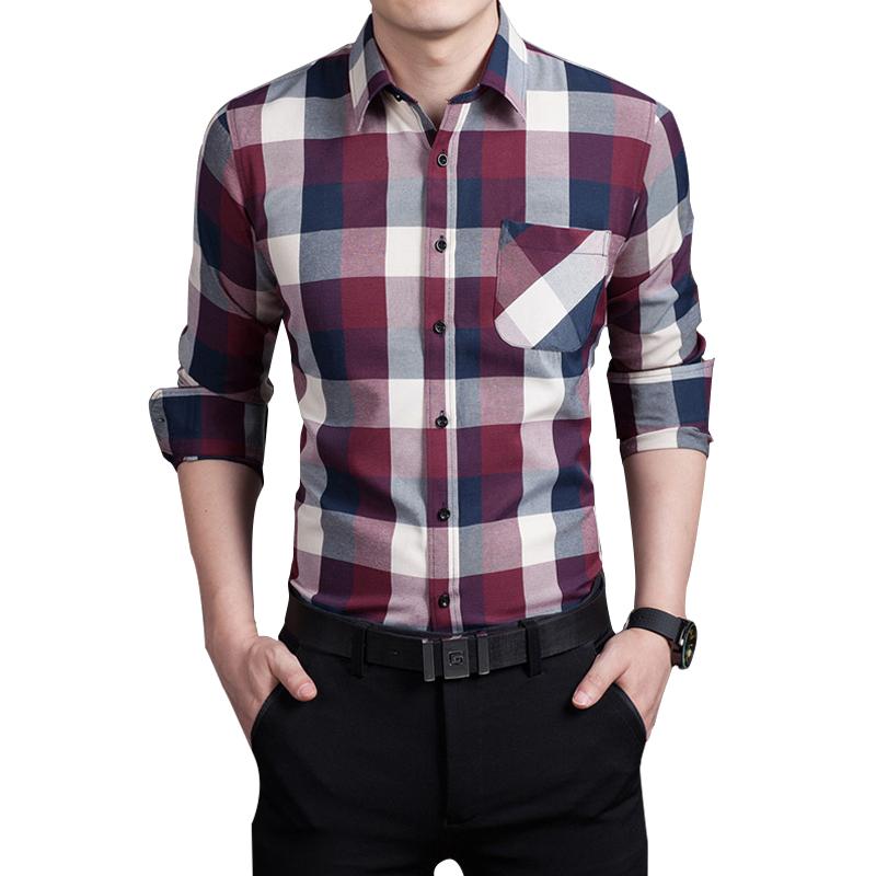 2016 Spring autumn New Plaid Fashion Dress Men Shirt Slim Fit Long Sleeve Plus Size 3XL Male Social Casual Shirts Camisa(China (Mainland))