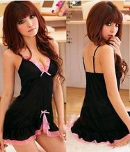 Womens Sexy Black Pink Frilly Babydoll Lingerie Chemise Lingerie Nightie PH