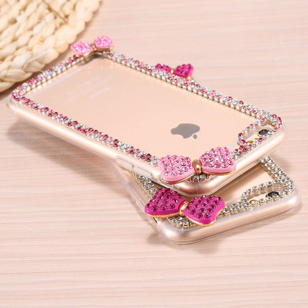 For iPhone 6 Plus Luxe Diamond Case Glitter Bling Rhinestone Cover For iPhone6 5.5'' Butterfly Bow Knot Hard Accessories(China (Mainland))