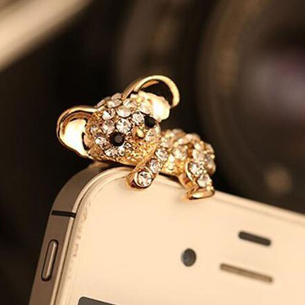New Cute Diamond Cat Pattern koala Anti Dust Plug For Phone Accessories Earphone Jack for iphone samsung xiaomi