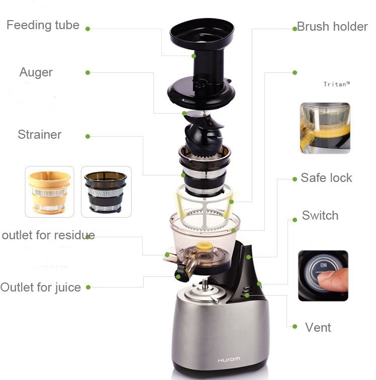 (Import) Hurom HU-500DG Slow Juicer Extractor - Silver