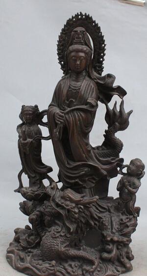 "18""Chinese Bronze Stand Dragon Kwan-yin Bodhisattva Goddess Tongzi Kid Sculpture(China (Mainland))"