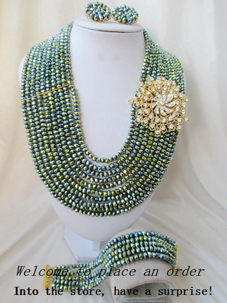 2015 Fashion african Metal Green crystal beads necklace set nigerian wedding african beads jewelsry et Free shipping P-2787<br><br>Aliexpress